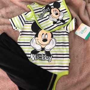 NWT 3-piece Mickey Mouse body suit